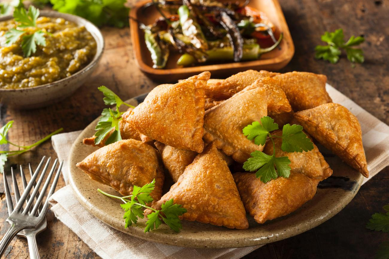 Fried Indian Samosas with Mint Chutney Sauce